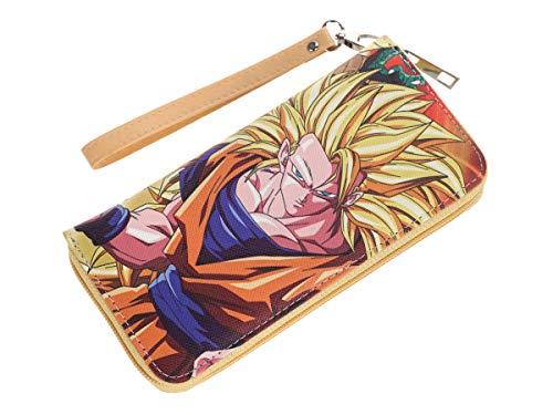 CoolChange Langes Dragon Ball Portmonee mit Kleingeldfach, Reißverschluss Geldbörse, Manga Portemonnaie, Motiv: Son Goku, Super Saiyajin