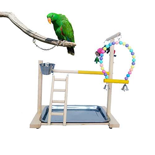 ZZMUK Parrots - Soporte de madera para parque infantil de pájaros, columpio de mesa de madera, perca, gimnasio, entrenamiento, parques de juegos con comedero, tazas, juguetes, ejercicio