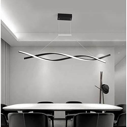 FCX-LIGHT Lampada a Sospensione LED Dimmerabile con Telecomando Luce Pendente Moderno Creativo Spirale Design Lampadario per Isola della Cucina Bar Sala da Pranzo Salotto Loft,Black,L120CM