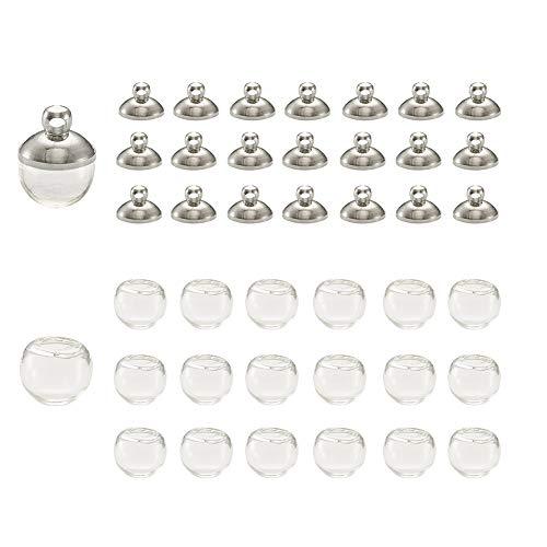 PandaHall 20 botellas de globo de cristal de 8 mm con bola d
