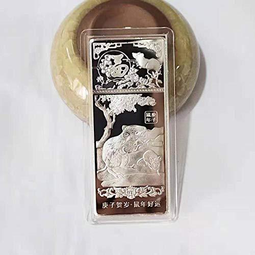 NKJWHB Jahr der Ratte Kreative Gedenkmünze Silbermünze Sternzeichen Souvenir Glücksgeschenk 7cm x 3cm