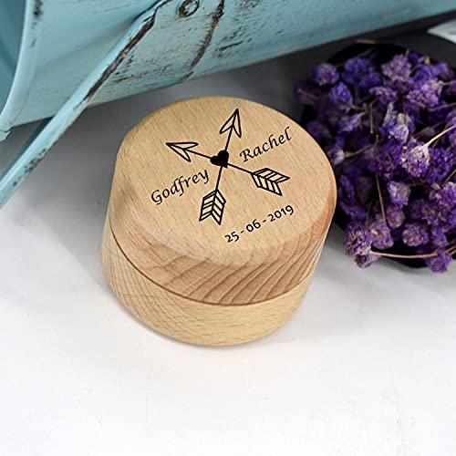 BAWAQAF 3 unids personalizado rústico boda anillo madera titular personalizado sus nombres y fecha anillo de boda caja portador