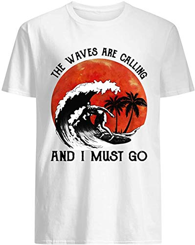 Klsify Novedad Print T-Shirt Hombre's The Waves Are Calling and I Must go Customized T Shirts