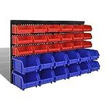 Tidyard 30 Gavetas de Almacenaje para Pared Azul y Rojo 100 x 50 x 90 mm y 100 x 75 x 155 mm