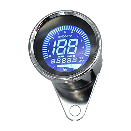 JHONG Tacómetro de Motocicleta Tacómetro Digital Tacómetro de Moto Speedómetro Digital Odómetro RPM Calibrador de Nivel de Combustible mph KM/H (Color : Chrome)