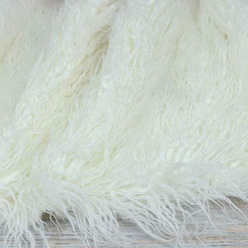 Stasy 150x25cm Tela De Oveja Mongol De Pila Larga De Piel Sinttica Blanca para Manualidades De Bricolaje,Alfombra De Piel Sinttica Tela De Piel Peluda para Disfraz Accesorios De Fotografa Moda