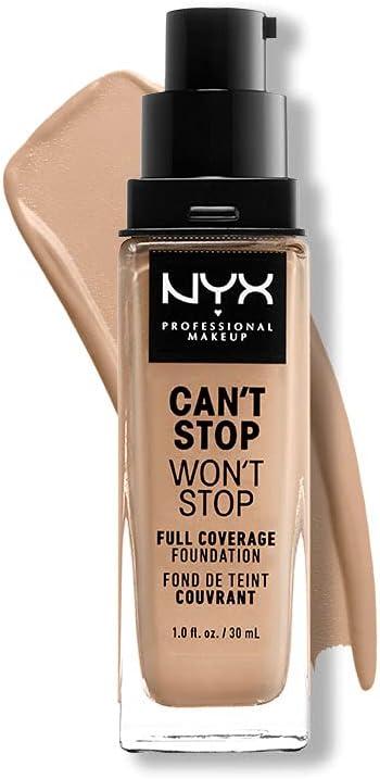 NYX Professional Makeup Base de maquillaje Can't Stop Won't Stop Full Coverage Foundation, Larga duración, Waterproof, Fórmula vegana, Acabado mate, Tono: Medium Olive
