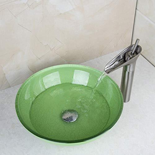 Hiwenr Nieuwe waterval-frisse platform behuizing wastafel toilettewastafel + geborstelde nikkel maaier messing container kraan mengkraan