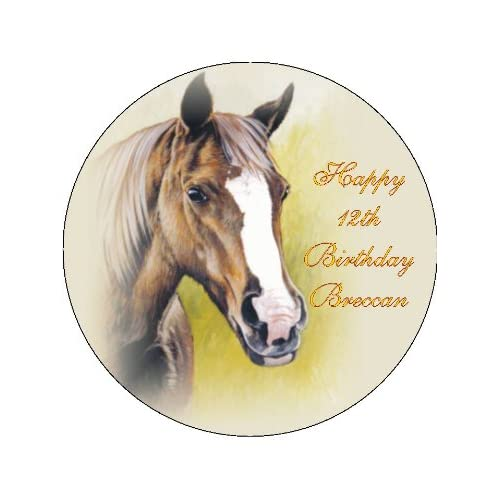 NOVELTY BROWN HORSES HEAD 12 STAND UPS Edible Image Cupcake Cake Toppers