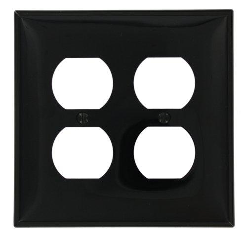 Leviton PJ82-E 2-Gang Duplex Receptacle Wallplate, Midway Size, Black