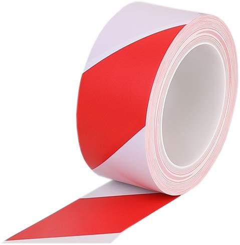 Warnband rot weiß -Wasserdicht Selbstklebendes Klebeband Gefahr Warnung Absperrband Markierungs Warnklebeband fur Treppen Schritte 48mm x 33m