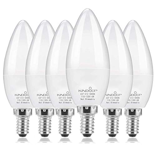 Kindeep E12 LED Bulb Candelabra LED Bulbs Daylight White 5000K Ceiling Fan Light Bulbs Chandelier 6W, 60Watt Equivalent, 550Lumens Decorative Candle Base Bulbs