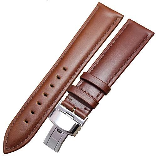 MOLUO 18 mm - 24 mm Reloj Venda del Cuero Genuino de la Correa de Brown Negro Correas de Reloj Pulsera Accesorios de Cierre (Band Color : Brown, Band Width : 19mm)