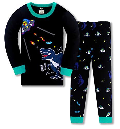 HommyFine Pijama para niñas y niñas, 2 piezas, pijama de manga larga para niñas, unicornio, Pajama, juego para niñas de 2 a 7 años Dinosaurio 01 140 cm