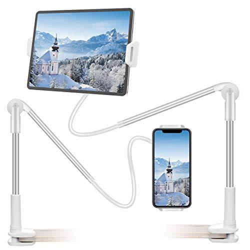 Supporto per Tablet HOCOSY Supporto Tablet Supporto iPad Porta Tablet da letto per Telefono, Ruotabile a 360 ° e adatto per Tablet / Telefono da 4,6 a 13 Pollici, 115 cm, Bianca