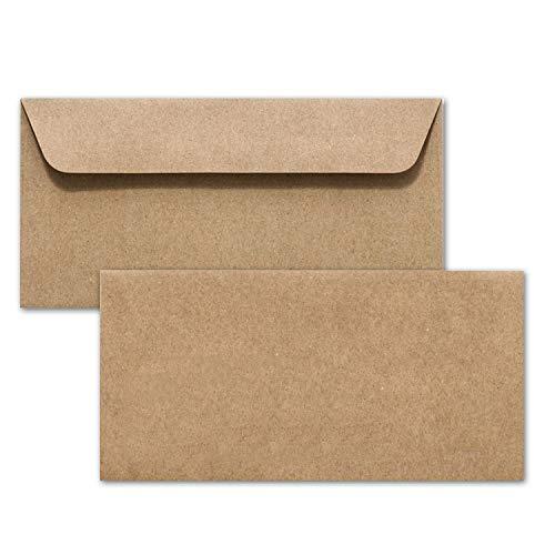 50 Kraftpapier Umschläge DIN Lang - Braun ÖKO Vintage- Nassklebung 11,4 x 22,9 cm - Briefumschläge ohne Fenster aus Recycling Papier - Vintage Kuvert aus 100% naturbelassenem Material