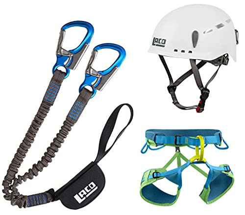 LACD Klettersteigset Pro Evo + Klettergurt Edelrid Jay III + Helm Protector 2.0 White (Gurt Größe M)