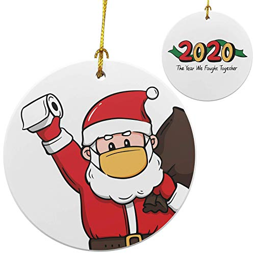 2020 Christmas Ornament, Handmade Quarantine Christmas 2020 Ornaments, Toilet Paper Ornament 2020, Funny Santa Hold Toilet Paper Wear Mask Ornament, Cute Ceramic Christmas Decorations 2020