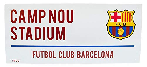 Barcelona Football Club Camp Nou Stadium White Metal Street Sign Official Wall