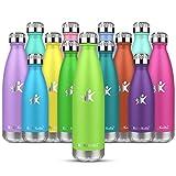 KollyKolla Botella de Agua Acero Inoxidable, Termo Sin BPA Ecológica, Botellas Termica Reutilizable Frascos Térmicos para Niños & Adultos, Deporte, Oficina, Yoga, Ciclismo, (350ml Verde Claro)