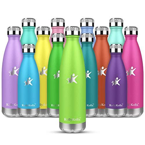 KollyKolla Botella de Agua Acero Inoxidable, Termo Sin BPA Ecológica, Botellas Termica Reutilizable Frascos Térmicos para Niños & Adultos, Deporte, Oficina, Yoga, Ciclismo, (500ml Verde Claro)