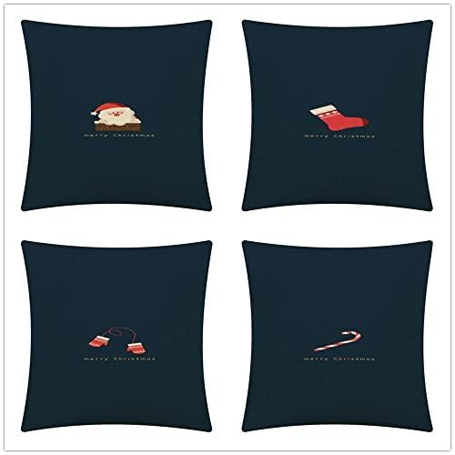Fundas de Cojines Sofa Dibujos Animados Lindo de Navidad Algodón de Lino Cojines Decoracion Hogar Cushion Covers para Salón Cama Coche Dormitorio Funda de Almohada Juego de 4 T1885 35x35cm/14x14inch