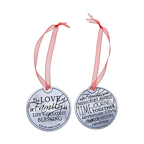 Christmas Ornament - The Love of Family - Double Sided Pewter Holiday Keepsake Great Gift for Mom, Sister, Aunt, Grandma