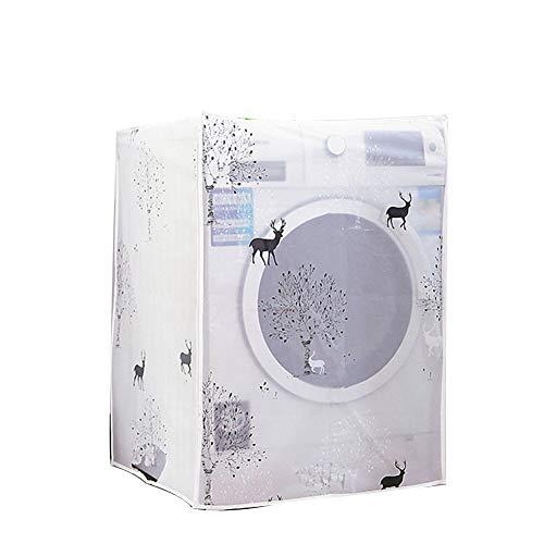 Hemore Waschmaschinenabdeckung, wasserfest, transparentes Blumenmuster, Waschmaschine, mit Reißverschluss, Universal-Sonnenschutz-Abdeckung, 1 Stück