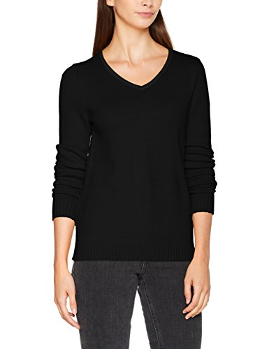 Vila Clothes Damen Viril L/S V-Neck Knit Top Pullover, Schwarz (Black), 40 (Herstellergröße: L)
