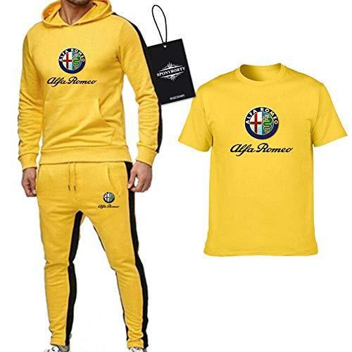 GOSUCPO Hombres Y Mujer Chandal Conjunto por Alfa-Ro_Meo de Tres Piezas Sólido Color Hooded Suéter Pantalones Camiseta Ropa Deportiva Casual X/Amarillo/M