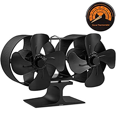 PYBBO Wood Stove Double Motors Fan, Small Size 8 Blades Fireplace Silent Heat Powered Eco Stove Fan for Gas/Pellet/Wood/Log Burning Stoves with Thermometer