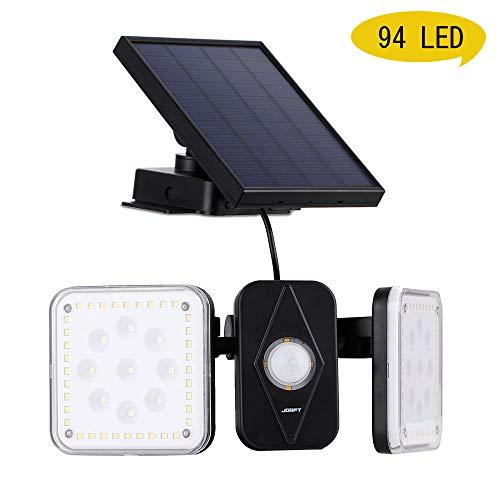 Solarlampen für Außen, Jorft 94 LED Doppelköpfe Solarleuchte Wandleuchte mit Bewegungsmelder 20 Stunden Solar Beleuchtung Wasserdicht Solarlicht Sicherheit für Garten, Garage,Haustür mit 10ft Kabel