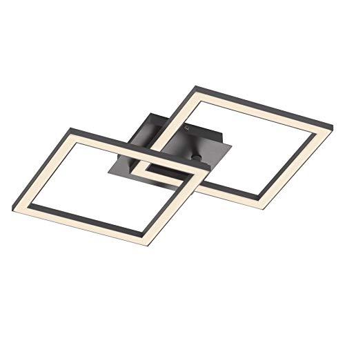 EGLO LED Deckenleuchte Palmaves 2, Wohnzimmerlampe Modern, 2 flammige Deckenlampe, Küchenlampe aus Aluminium in Schwarz, Kunststoff in Weiß, LED Schlafzimmerlampe eckig, warmweiß