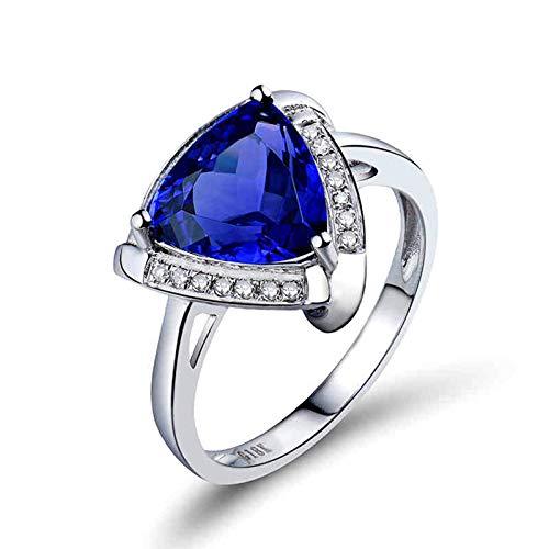 AnazoZ Anillos Mujer Tanzanita,Anillo Mujer Oro Blanco 18 Kilates Compromiso Plata Azul Triángulo Tanzanita Azul 1.8ct Diamante 0.1ct Talla 23,5