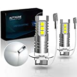 AUTOGINE H3 LED Fog Light Bulbs, 2000 Lumens Extremely Bright 3030-SMD H3 LED Bulbs with Projector for Auto Motorcycle Cars Trucks SUV Fog DRL Lights(6000K Xenon White)