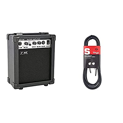 3rd Avenue Rocket Series 10W Guitar Amplifier with Headphone Output and Effects Compact Practice Amp - Black & Stagg SGC3 3m Phone to Phone Plug Instrument Cable, Black