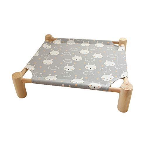 Acyoung, cuccia rialzata in legno per gatti, amaca rimovibile, lavabile, per conigli, gattini e cuccioli