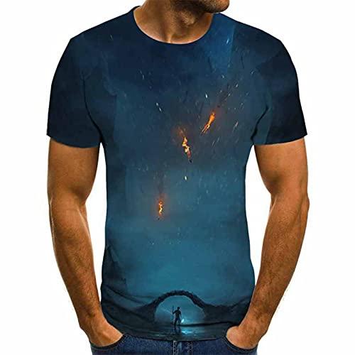 SSBZYES Camiseta para Hombre Verano Camiseta de Manga Corta de Gran tamaño para Hombre Camiseta de Manga Corta para Hombre Camiseta Estampada para Hombre Moda Casual Starry Sky Camiseta Estampada