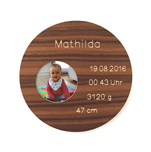 Geburtsteller mit Gravur und Foto aus Holz Taufteller mit Namen Datum Baby Bild Taufgeschenk zur Geburt Taufe personalisiert individuell Taufpate: Nussbaum