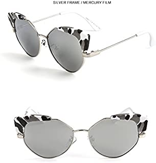 Sunglasses Child Sunglasses Fashion Cat Eye Sunglasses Children Polaroid Sunglasses Boys Girls Kids Baby Goggles UV400 Mirror Accessories for Summer Beach (Color : Silver)