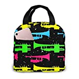 Colorful Trumpet Adults Fiber Maximum Portable Insulated Lunch Bag Waterproof Tote Bento Bag For Men Women Office Hiking Beach Picnic