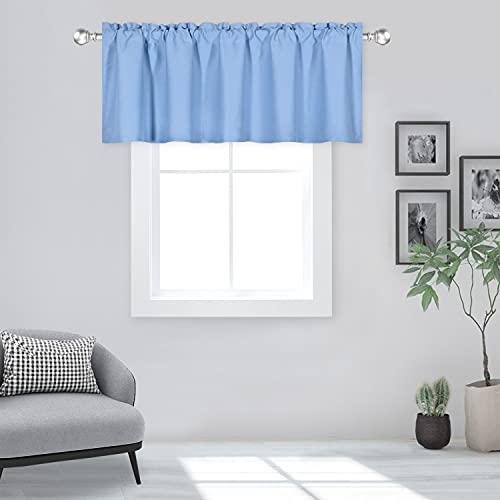 DECOVSUN Himmelblauer Querbehang für Fenster, 152,4 x 45,7 cm, solide, wärmeisoliert, Verdunkelungsstab, Tasche, Küche, kurzer Vorhang, Volant für Badezimmer, Wohnzimmer, Hellblau