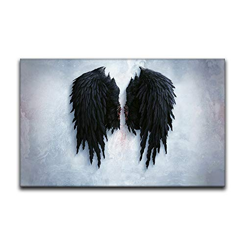 Póster de alas de ángel para pared, pintura al óleo, diseño de plumas negras para decoración de pared, para dormitorio, decoración estética del hogar (50,8 x 81,3 cm)