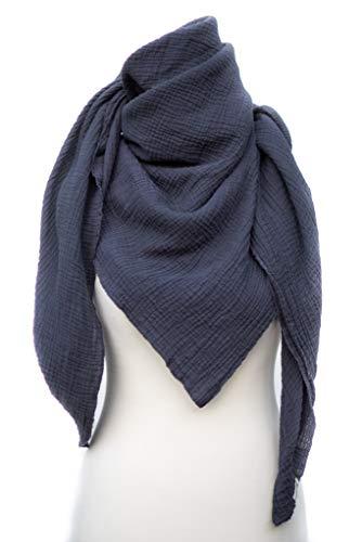 Musselin Tuch von PRETTY USEFUL, ein universelles Mama Accessoire, als Halstuch, Parero, Kopftuch oder fürs Baby als Pucktuch, Spucktuch und Schmusedecke – OEKO TEX Standard 100 (Grau)