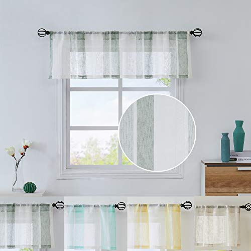 """Central Park Sage Green and White Kitchen Window Curtain Valance Vertical Stripe Sheer Boucle Linen Window Curtain, Living Room Decorative Rod Pocket (54"""" W x 15"""" L) Rustic Living Panels"""