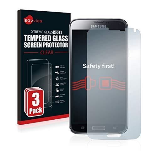 3X Savvies HD33 Tempered Glass - Displayschutz für Samsung Galaxy S5 Duos LTE SM-G900FD (extrem Kratzfest (9H), Hohe Transparenz, schmutzabweisend, Abgerundete Kanten)