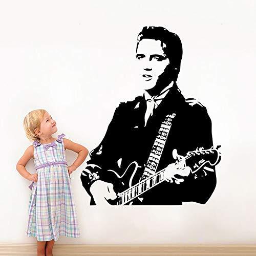 Schöne Elvis Presley Spielen Gitarre Wandtattoos Für Wohnzimmer Home Decoration Rockmusik Wallpaper Fans Geschenk Vinyl Wandaufkleber 45 * 57Cm