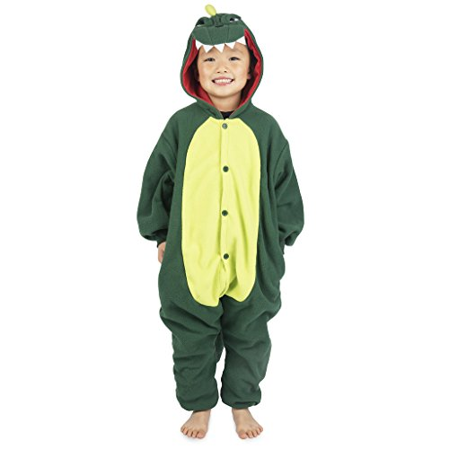 Emolly Fashion Kids Animal Dinosaur Pajama Onesie - Soft and Comfortable with Pockets (10, Dino) Green