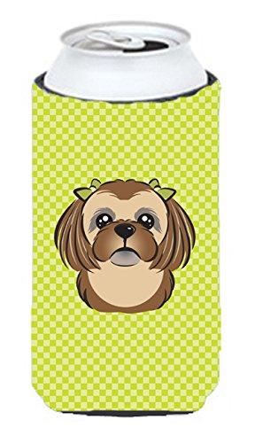 Checkerboard Citron vert Marron chocolat Shih Tzu Tall Boy Koozie Hugger Bb1311tbc