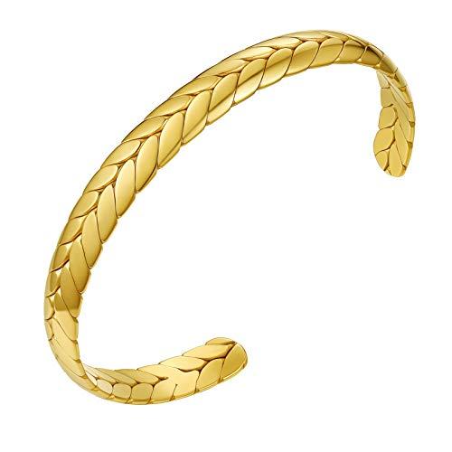 PROSTEEL Gold Cuff Bracelets for Women Wrist Cuff Bangle